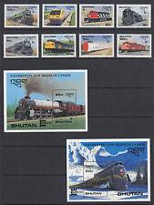 Bhutan Sc 597-606 MNH. 1987 Locomotives, cplt set of stamps & souv sheets, VF