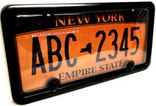 Automobile Clear License Plate Cover & Black Metal Frame Combo Set w/ Bolt Caps