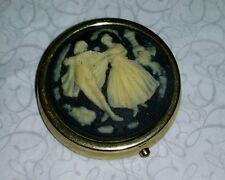 Beautiful Vintage Cameo Pill Box- Beautiful Condition- Circa 1970 Never Used