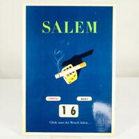 Salem No 6 Zigaretten Werbung Ewiger Immerwährender  Kalender Vintage 50er Jahre