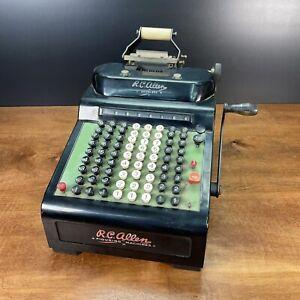 Vintage RC Allen Calculator Adding Machine Model 805 Hand Crank Register