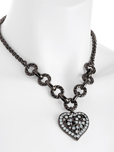 Hematite coloure crystal heart chain necklace costume jewellery gift present
