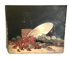 Ancienne Huile toile peinture tableau Nature morte fruits signée 1900 XIX 19TH