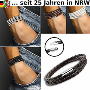 Armband Leder Schwarz Herren Damen Unisex Lederarmband Braun Wickelarmband Weiss