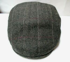 CREMIEUX Collection Brown Chevron Wool Flat Cap Golf Cabbie Newsboy Hat S/M NEW