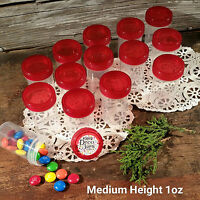 "24 Pill Jars 2+"" tall Screw Red Cap 1 ounce Party Favor Size Container  3812 USA"