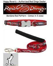 Premium Red Dingo Dog Collars & Leashes - Paisley Bandana Red -  Pick Size
