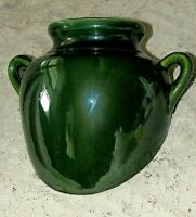 Antique Pottery Green Glazed Pottery Jug,Unique Flat Back Wall Hanging Planter