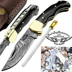 "Pocket Knife 6.5""Buffalo Horn Damascus Steel Sharpener Rod Hunting Folding Knife"