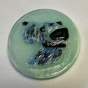 Vintage Uranium Glass Button Terrier Dog Head Large - Glows Green