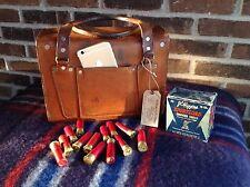 VINTAGE 1950'S BRITISH TAN SADDLE BELTING LEATHER SHOTGUN AMMO CASE BAG R$498