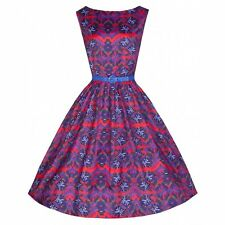 NEW VINTAGE 50'S STYLE AUDREY AZTEC BLOOM ROCKABILLY PARTY DRESS SIZE 10