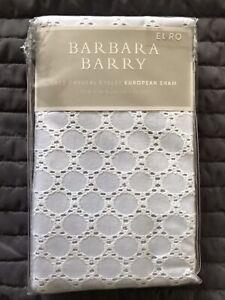 2 NIP BARBARA BARRY 'Lace Crystal Eyelet' Euro Pillow Shams $120 Value