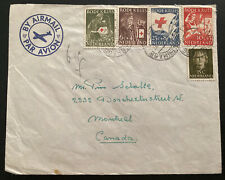 1953 The Hague Netherlands Airmail cover To Montreal Canada Red Cross Stamps