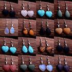 Natural Stone Hook Heart Water Drop Dangle Womens Earrings Quartz Opal Jewelry