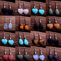 Natural Stone Hook Heart Water Drop Dangle Womens Earrings Quartz Opal Jewelry
