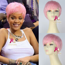 Girl's Short Straight Pink Hair Rihanna Style Cosplay Costume Wig Fashion Hair