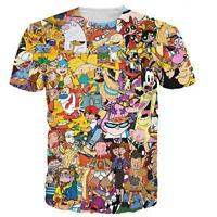 Funny 90s Anime Cartoon Collage Men Women Crew T Shirt 3d Graphic Tee Slim Fit