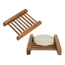 Bamboo Soap Holder Dish Bathroom Shower Plate Stand Storage Wood Box Natural New