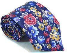 "Mark Jason Mens Tie Necktie 100% Polyester 3"" 46"" Floral Blue Red Yellow Short"