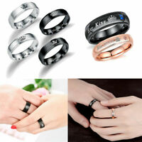 UNISEX His Queen And Her King Stainless Steel Rings Couple Wedding Dating Gifts