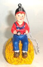 SPEC CAST IH BOY ON HAY BALE RESIN CHRISTMAS ORNAMENT NEW ZJD 1748
