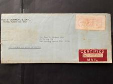 Puerto Rico 1968, Aquirre Luce & CO. CERTIFIED receipt COVER, Jose Morales Lugo