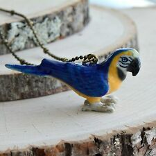 Antique Bronze Chain Ceramic Animal Hand Painted Porcelain Macaw Parrot Necklace