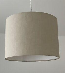 Lampshade Ecru Beige Textured 100% Linen Drum Light Shade