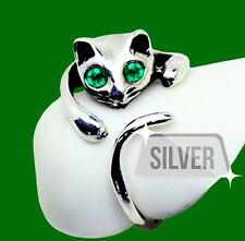 NEW 925 SOLID STERLING SILVER Adorable Cat Ring- GREEN Crystal Eyes–Adjustable