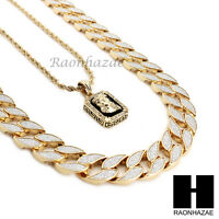 "MENS OUT CUBAN LINK 30"" CHAIN / JESUS PENDANT 24"" ROPE NECKLACE SET SC38"