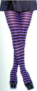 Leg Avenue Striped Tights Opaque Nylon Black/ Red or Black /Purple Size Reg 7100