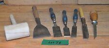 7 pc chisel set timber frame mortising, slick boat building tool collectible lot