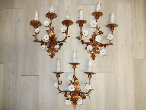 ~Set of 3 French Gold Tole Sconces with White Porcelain Flowers, 1920's~