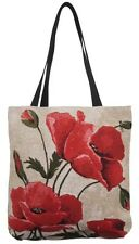 BELGIAN TAPESTRY LARGE SHOPPING TOTE BAG 46CM X 46CM, LARGE POPPIES DESIGN 10218