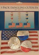 Patriotic American Flag Danglers 3 Ct/Pk