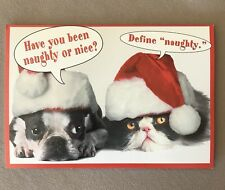 """Dog & Cat Santa"" Christmas Card By Leanin' Tree-6 3/4"" X 4 1/2"", USA Made, NEW!"