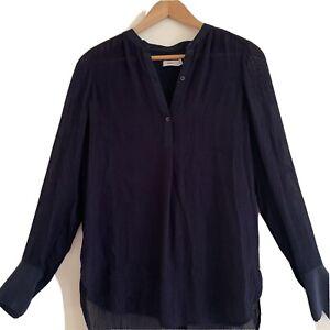 Vince Longsleeve Silk Navy Blouse Size 2