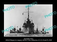 OLD HISTORIC PHOTO OF AUSTRALIAN NAVY, HMAS PLATYPUS & J CLASS SUBMARINES c1920
