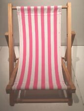 Build A Bear Workshop Wood Sling Beach Chair, Pink and White Stripes