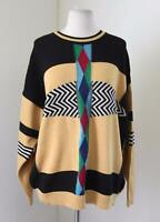 Vtg 90s Yellow Black Color Block Crewneck Sweater 52 US XL Club Street Wear