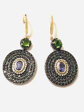 Rarities SS Tanzanite, Chrome Diopside, Black Spinel Diamond Earrings