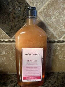 Bath & Body Works Aromatherapy SENSUAL Jasmine Vanilla Body Wash Foam Bath 10 oz