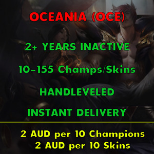 League of Legends OCE Account LOL OCE Unranked Champs Smurf Skins Acc Lvl 30 BE