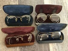 Lot Of 4 Antique Vintage Spectacles Glasses With Hard Case gold filled