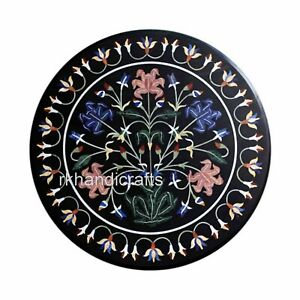 24 Inches Marble Coffee Table Top Hand Made Floral Pattern Center Table for Home