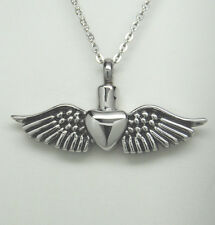 Cremation Jewelry Heart with Angel Wings Urn Necklace || Ashes Keepsake
