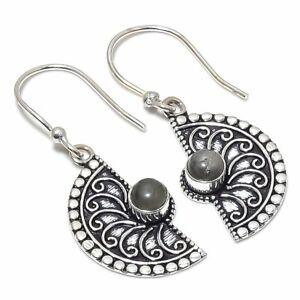 "Labradorite Gemstone Handmade 925 Sterling Silver Jewelry Earring 1.65 "" R804"
