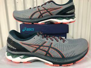 Asics Gel Kayano 27 Grey Magnetic Blue Orange 3M 14 1011A767 021 Running Shoes