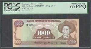 Nicaragua 1000 Cordobas L1985(1987) P145b Uncirculated Graded 67